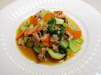 チンゲン菜と豚肉の中華風炒め5