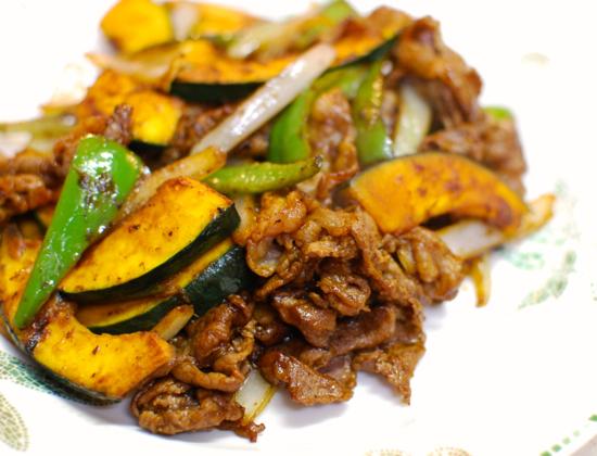 牛肉とかぼちゃの甘味噌炒め10-550
