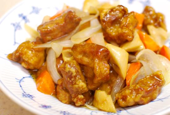 にんじんとれんこんの黒酢酢豚11-550