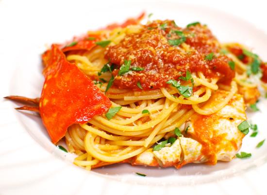 ワタリガニのトマトソースパスタ12-550