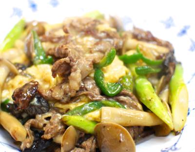 牛肉とアスパラの卵炒め9-400
