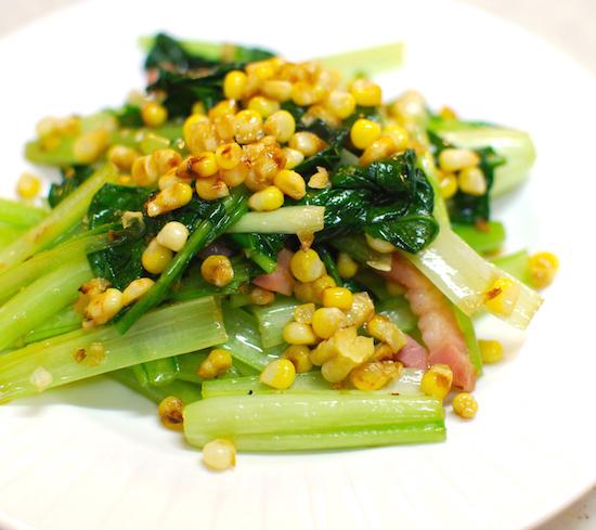 とうもろこし、小松菜、ベーコン炒め5 (1)-550