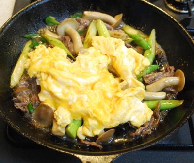 牛肉とアスパラの卵炒め8-400